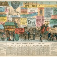LLJ609825 The London Almanack for 1877 (coloured engraving) by Cruikshank, Percy (fl.1853-54); Private Collection; (add.info.: The London Almanack for 1877.); © Look and Learn / Peter Jackson Collection; English,  out of copyright